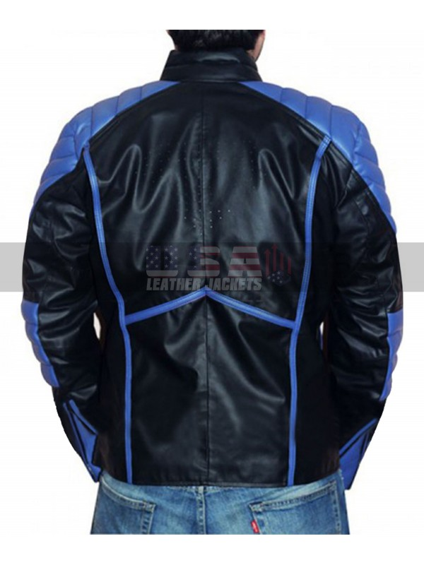 Superman Black with Blue Red Stripes Leather Jacket